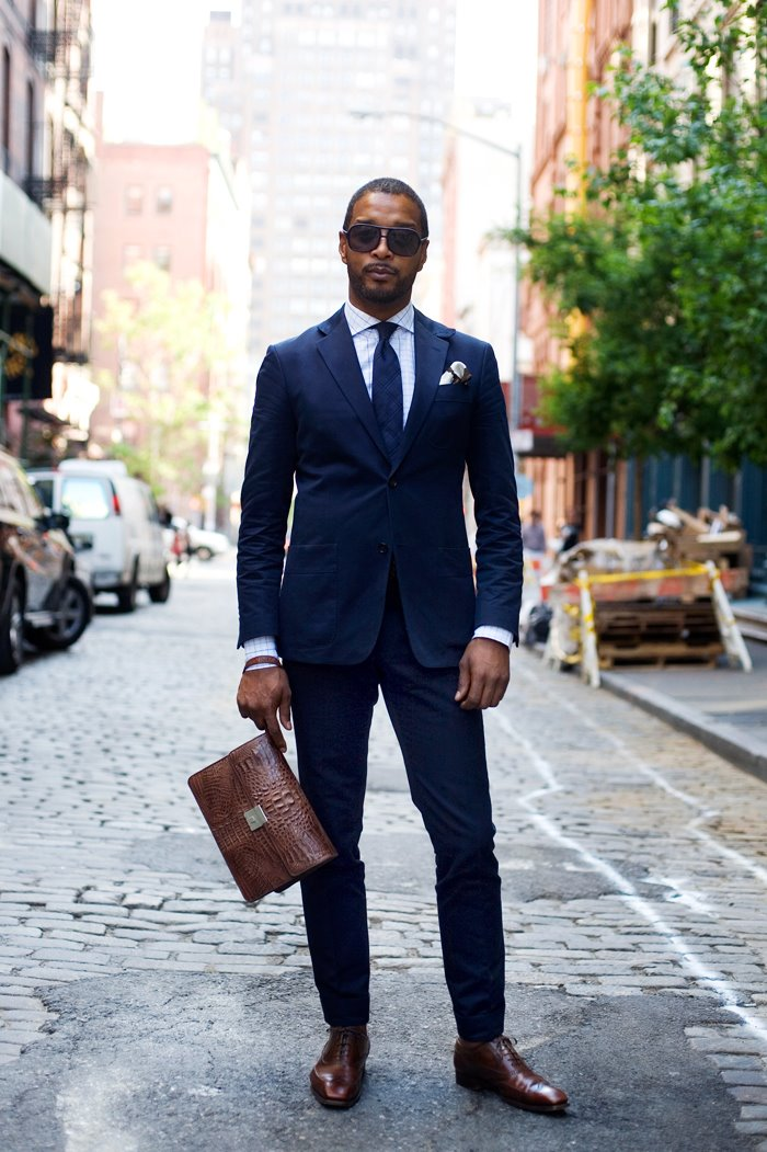 Black dress shoes navy suit