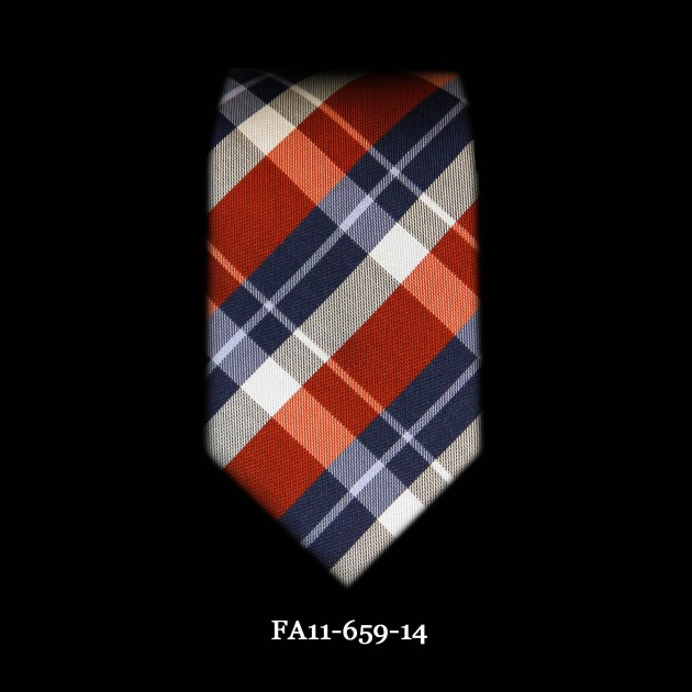 Astor & Black Tie Orange Blue Plaid FA11-659-14#
