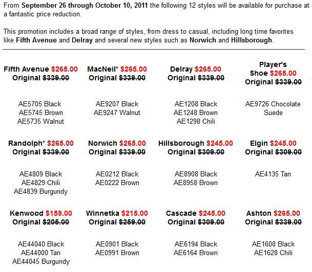 Astor & Black Allen Edmonds Sale Prices