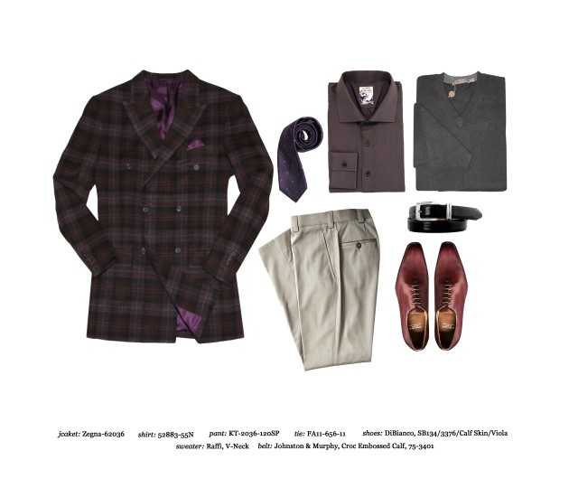 Astor & Black Jacket: Zegna Fabric, purple silk tie, muted purple custom dress shirt, grey v-neck sweater, tan pants, DiBianco Calf Skin Shoes in Viola,  Johnston & Murphy Crocodile belt.