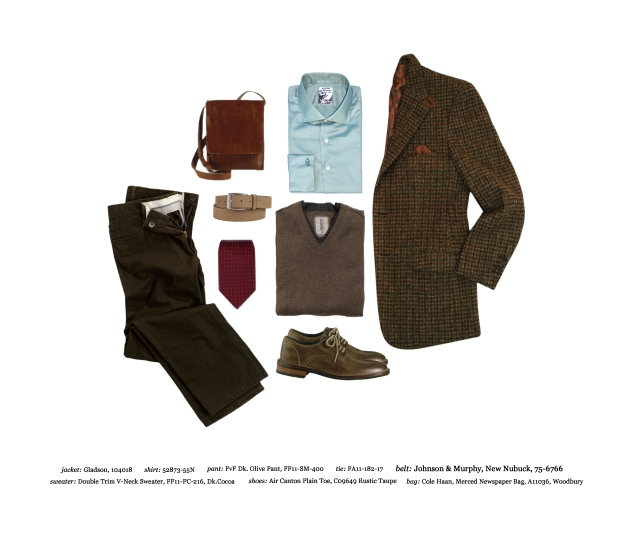 Astor & Black tweed hunting jacket, custom dress shirt in light blue, dark olive form vs funktion pant, cole haan newspaper bag, johnson & murphy tan belt, cole haan air colton plain toe, double trim v-neck sweater