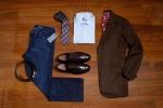 Brown WIndow Pane Jacket, Light Blue Custom Dress Shirt, Allen Edmonds Wide Basic Dress Belt; Brown, Allen Edmonds 5th Avenue Shoe; Brown, Plaid Pattern Tie