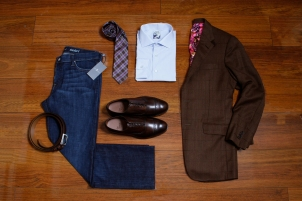 Brown WIndow Pane Jacket, Light Blue Custom Dress Shirt, Allen Edmonds Wide Basic Dress Belt; Brown, Allen Edmonds 5th Avenue Shoe; Brown, Plaid Pattern Tie