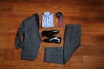 Bespoke Charcoal Suit with Black Buttons: KT-612181-110N: $899. Blue Gingham Custom Dress Shirt: KSZ-53729-55N: $140. Burgundy White Dot Pattern Tie: FA11-182-17: $85. Allen Edmonds La Salle Shoe: $295.