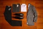 Grey Herringbone Bespoke Jacket: KT-108846-220N: $825. Lavender Custom Dress Shirt: KT-108846-220N: $140. Seven Jeans Standard: Black Out: $195. Allen Edmonds 5th Street Shoe: $350. Custom Cashmere V-Neck Sweater: Charcoal:SM1113: $535.