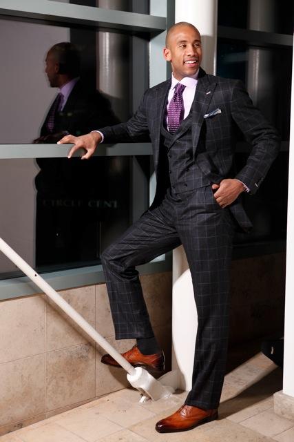 Charcoal Suit Purple Shirt Brown Shoes