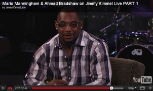 Ahmad Bradshaw on Jimmy Kimmel in Astor & Black