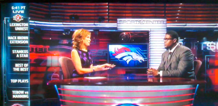 Ryan Clady, of the Denver Broncos, appearing on Sports Center in his Astor & Black gear, dressed by Aaron Benami, Los Angeles.